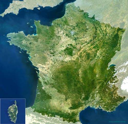Satellite photo of France